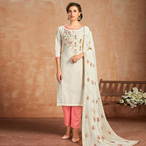 Pleasance White Colored Partywear Embroidered Pure Cotton Dress Material