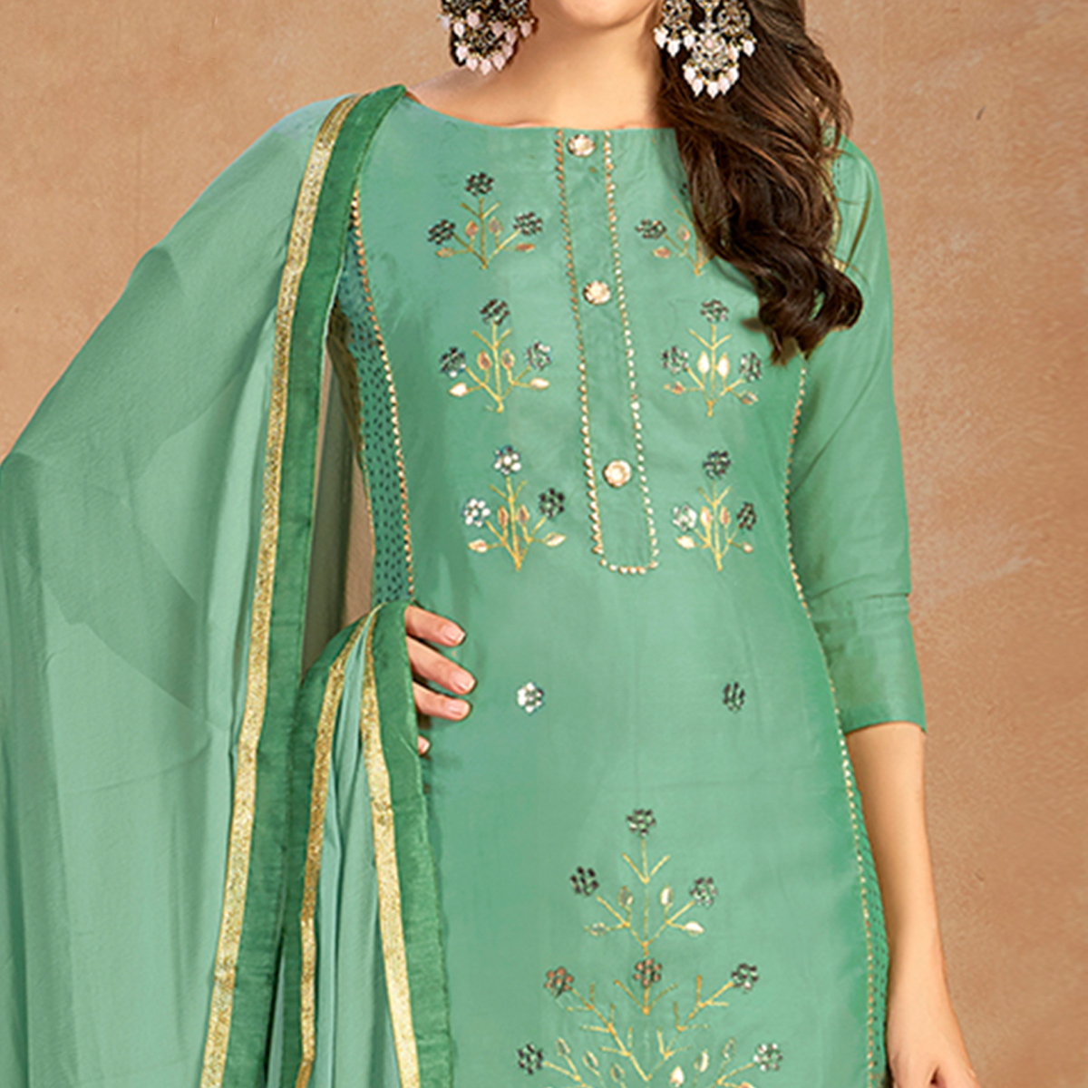 Breathtaking Teal Green Colored Partywear Embroidered Pure Cotton Dress Material