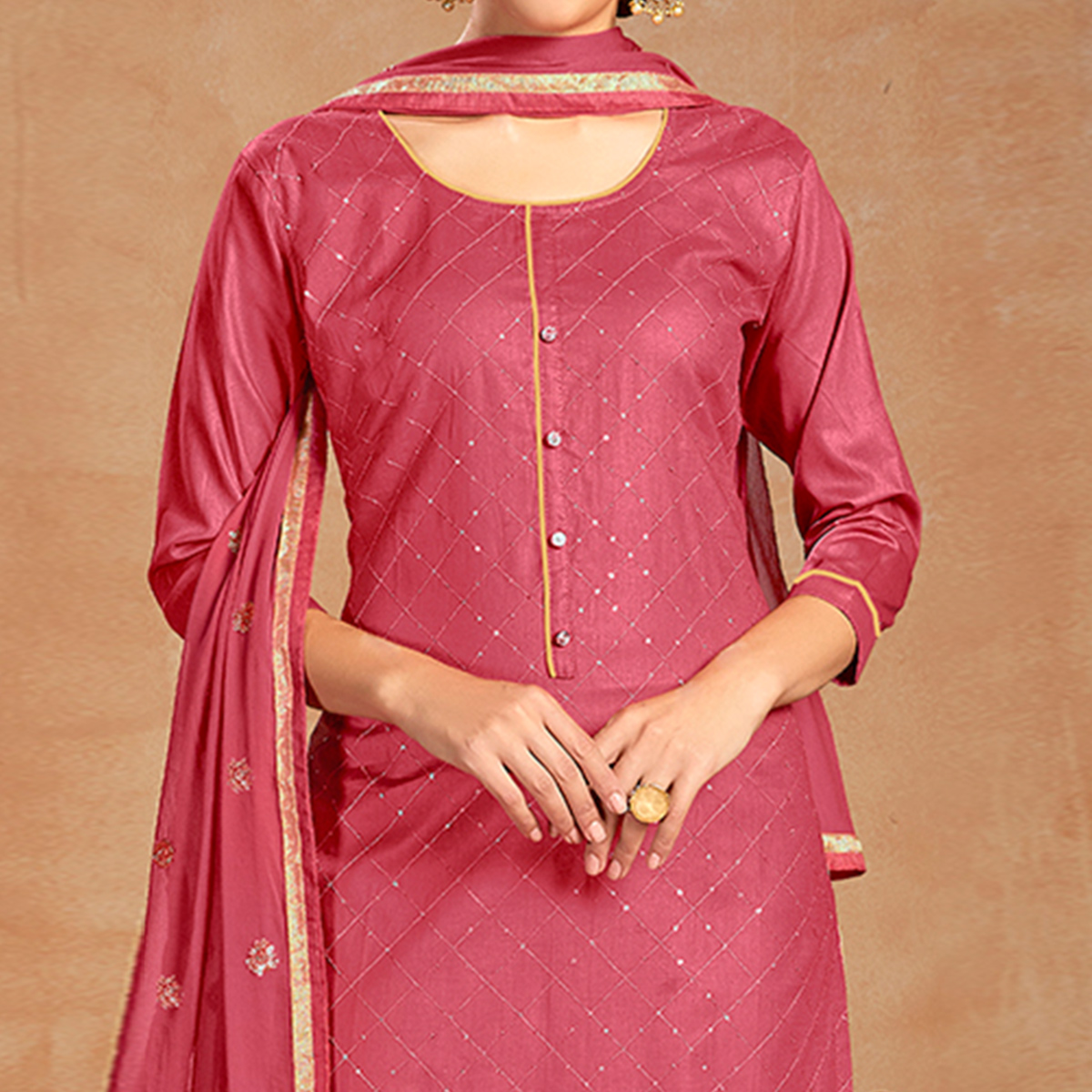 Ethnic Pink Colored Partywear Embroidered Pure Cotton Dress Material