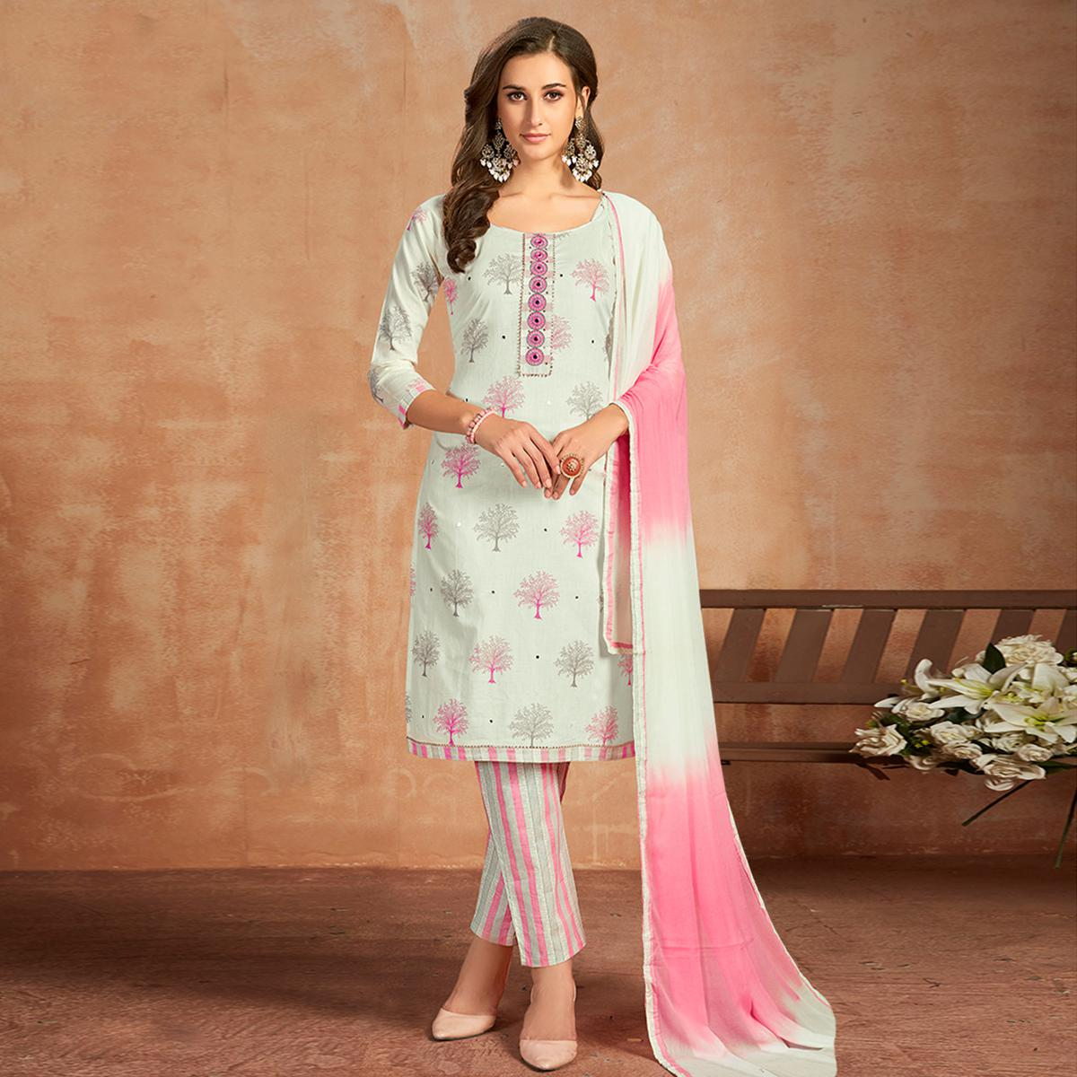 Ravishing White Colored Partywear Embroidered Pure Cotton Dress Material