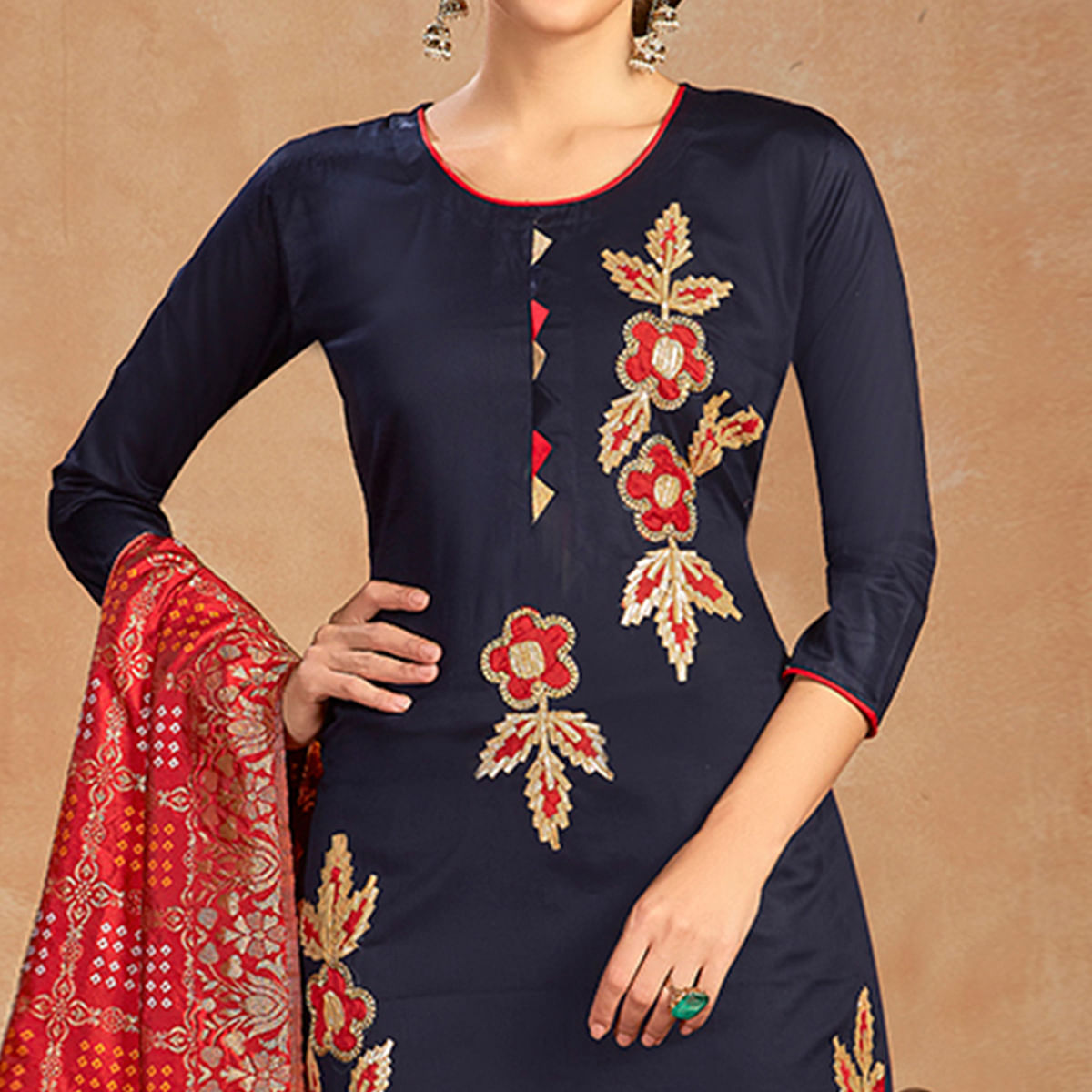 Dazzling Navy Blue Colored Partywear Embroidered Pure Cotton Dress Material