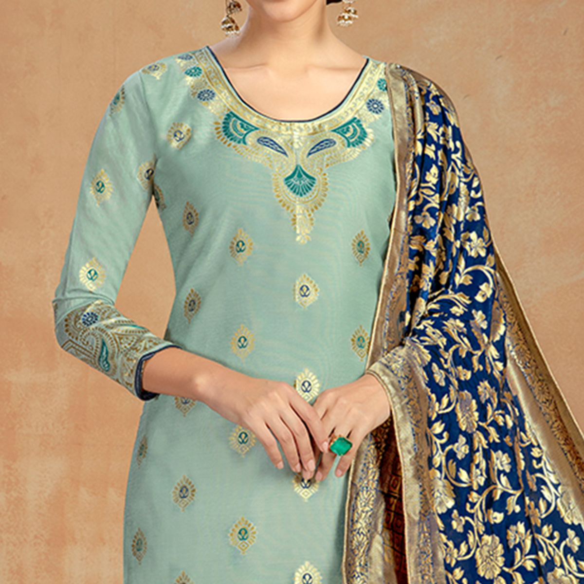 Surpassing Light Blue Colored Partywear Embroidered Pure Cotton Dress Material