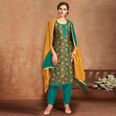 Flaunt Green Colored Partywear Embroidered Pure Cotton Dress Material