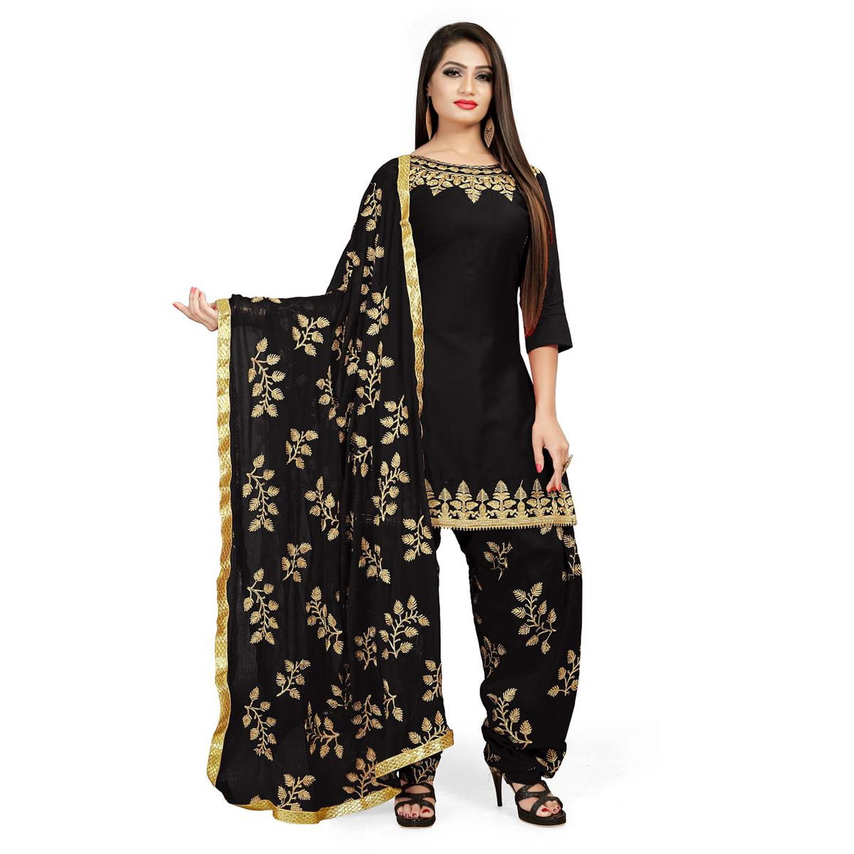 IRIS - Black Colored Party Wear Embroidered Cotton Patiyala Style Dress Material