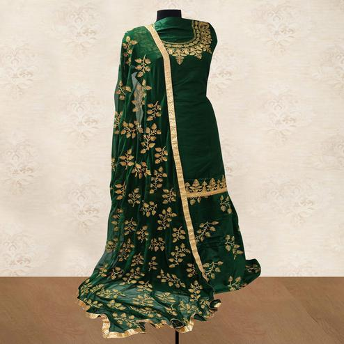 IRIS - Green Colored Party Wear Embroidered Cotton Patiyala Style Dress Material