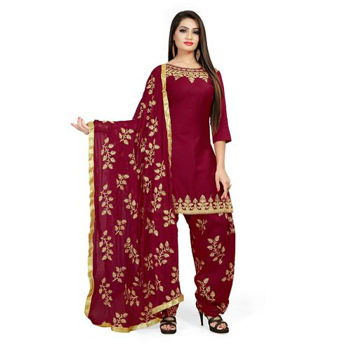 IRIS - Maroon Colored Party Wear Embroidered Cotton Patiyala Style Dress Material