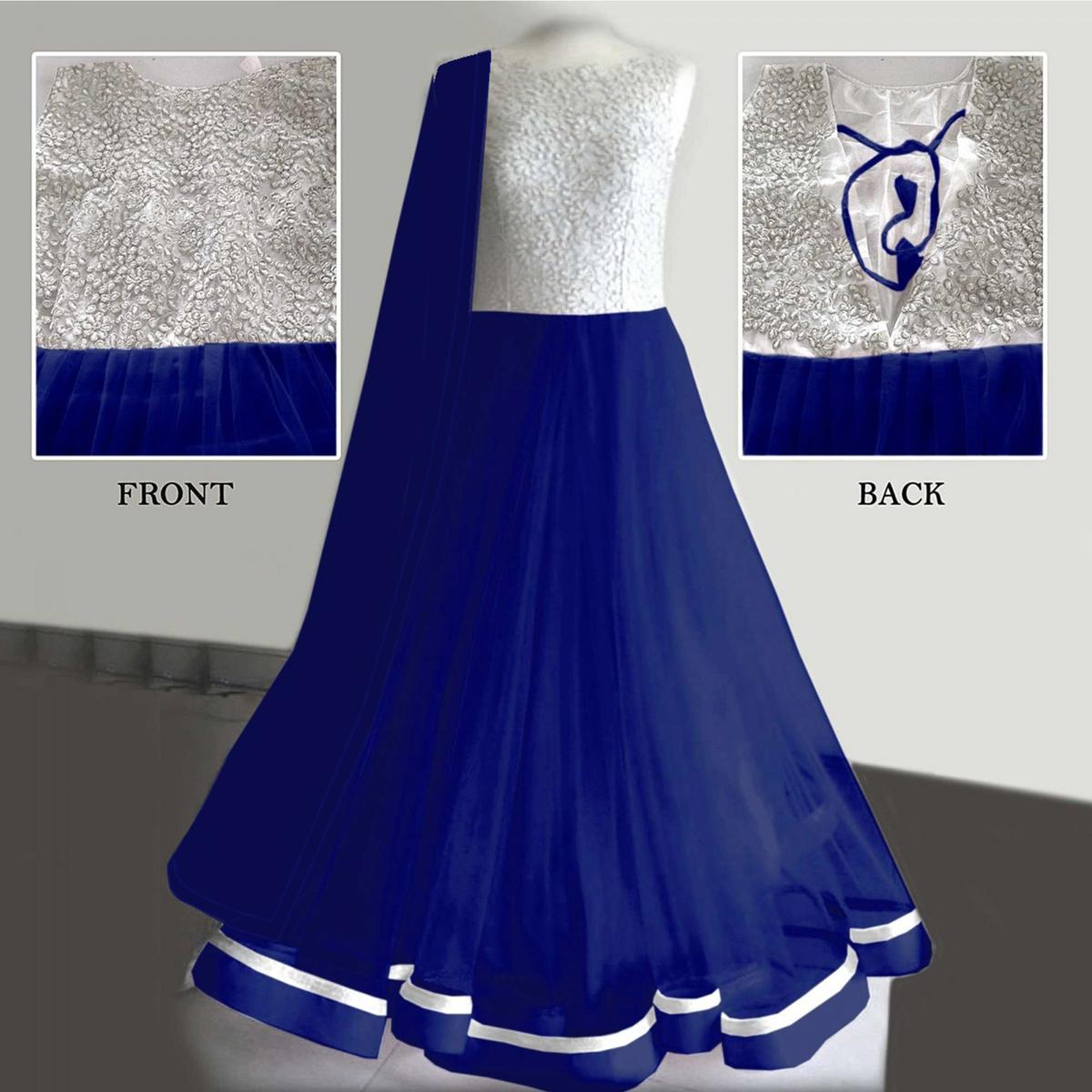 Royal Blue Net Anarkali