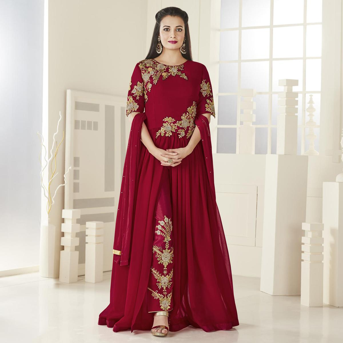 Lipstick Red Floor Length Designer Embroidered Georgette Anarkali Suit