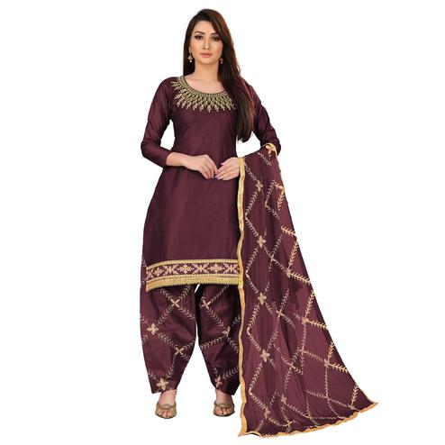 IRIS - Coffee Brown Colored Party Wear Embroidered Cotton Dress Material