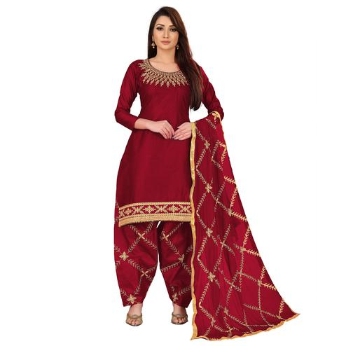 IRIS - Maroon Colored Party Wear Embroidered Cotton Dress Material