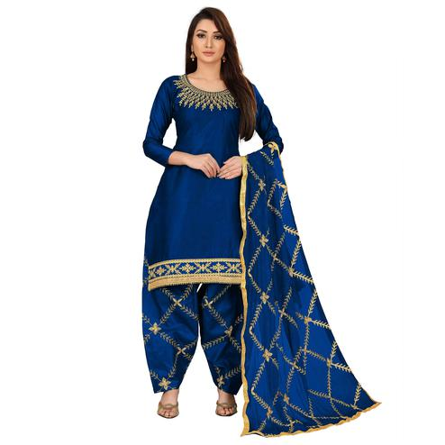 IRIS - Navy Blue Colored Party Wear Embroidered Cotton Dress Material