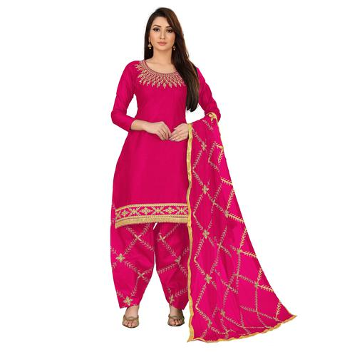 IRIS - Deep Pink Colored Party Wear Embroidered Cotton Dress Material