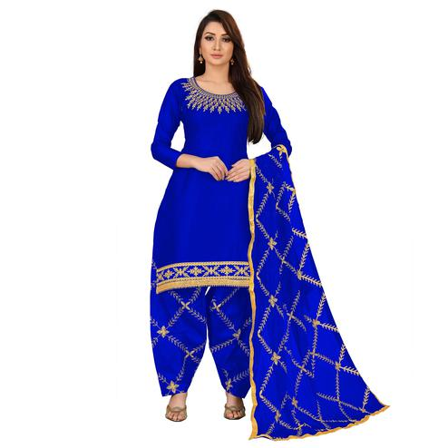 IRIS - Royal Blue Colored Party Wear Embroidered Cotton Dress Material