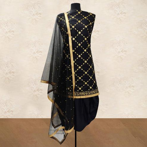 IRIS - Black Colored Party Wear Gotapatti Embroidered Cotton Patiyala Style Dress Material