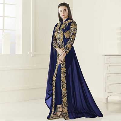 Dazzling Navy Floor Length Designer Embroidered Georgette Anarkali Suit