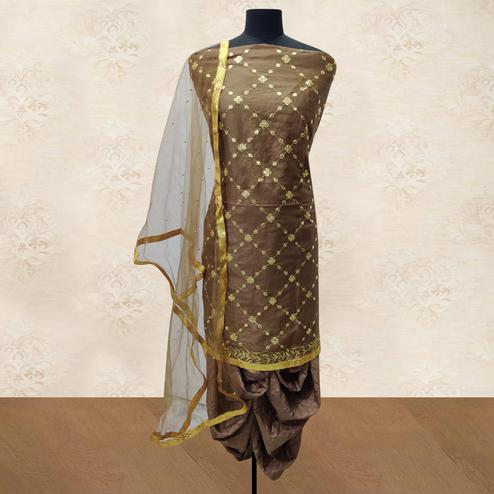 IRIS - Coffee Brown Colored Party Wear Gotapatti Embroidered Cotton Patiyala Style Dress Material