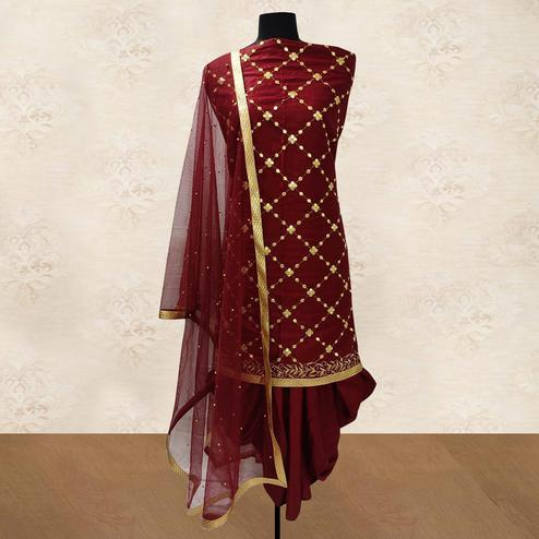 IRIS - Maroon Colored Party Wear Gotapatti Embroidered Cotton Patiyala Style Dress Material