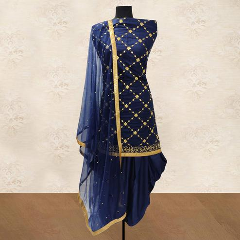 IRIS - Navy Blue Colored Party Wear Gotapatti Embroidered Cotton Patiyala Style Dress Material