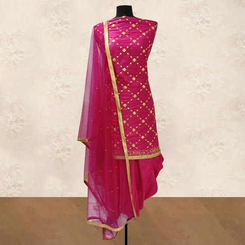 IRIS - Pink Colored Party Wear Gotapatti Embroidered Cotton Patiyala Style Dress Material
