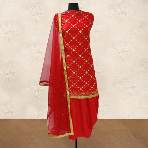 IRIS - Red Colored Party Wear Gotapatti Embroidered Cotton Patiyala Style Dress Material