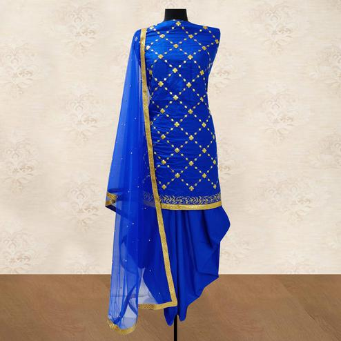 IRIS - Royal Blue Colored Party Wear Gotapatti Embroidered Cotton Patiyala Style Dress Material