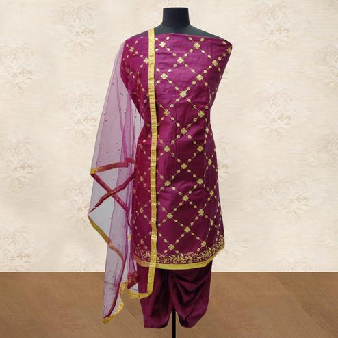 IRIS - Wine Colored Party Wear Gotapatti Embroidered Cotton Patiyala Style Dress Material