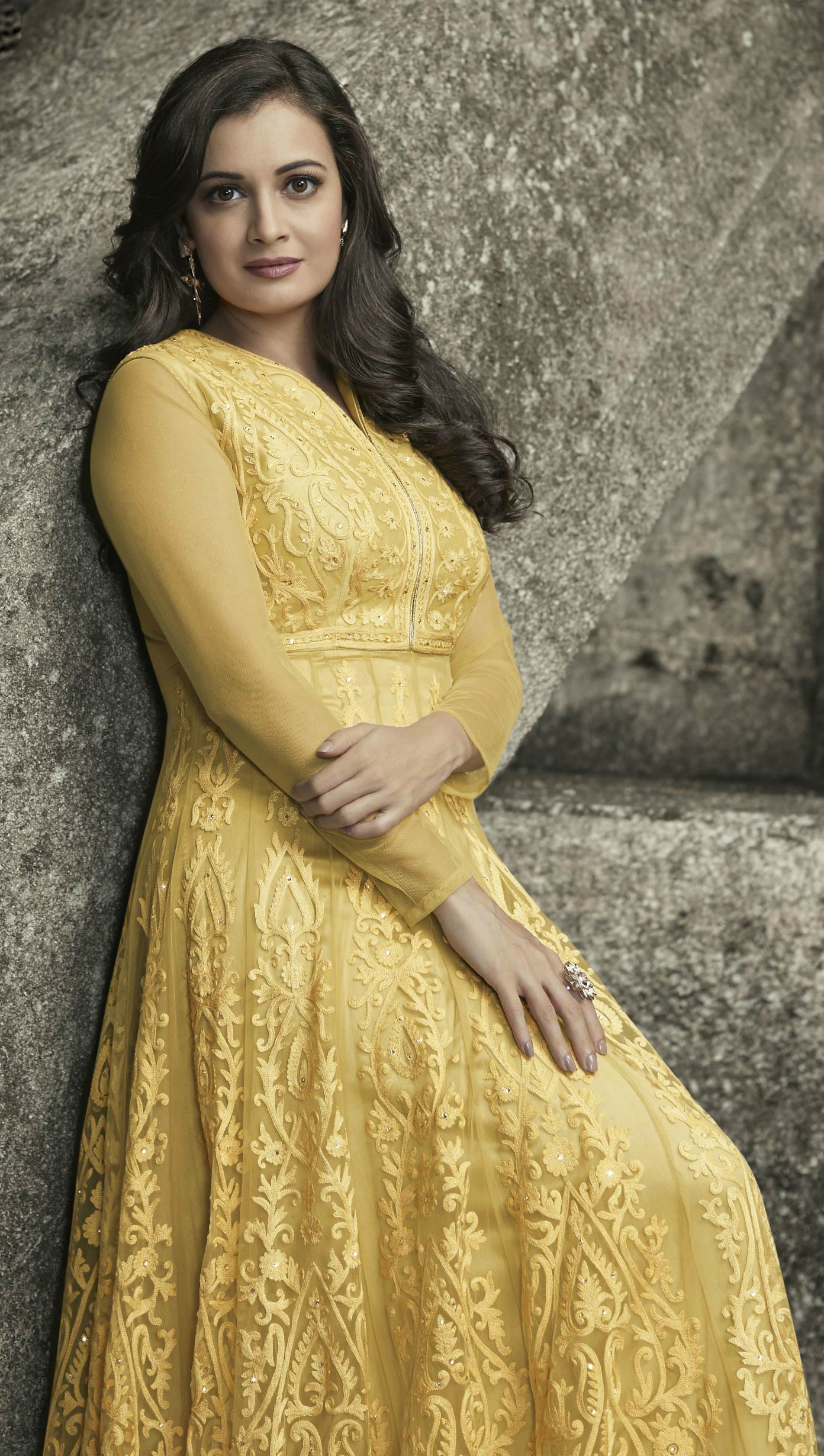 Radiant Yellow Floor Length Designer Embroidered Mulberry Silk Anarkali Suit