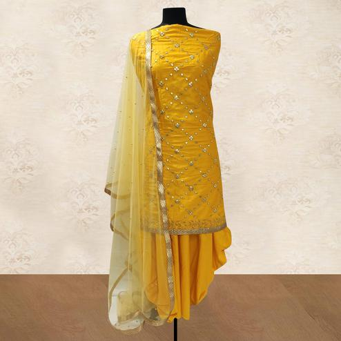 IRIS - Yellow Colored Party Wear Gotapatti Embroidered Cotton Patiyala Style Dress Material