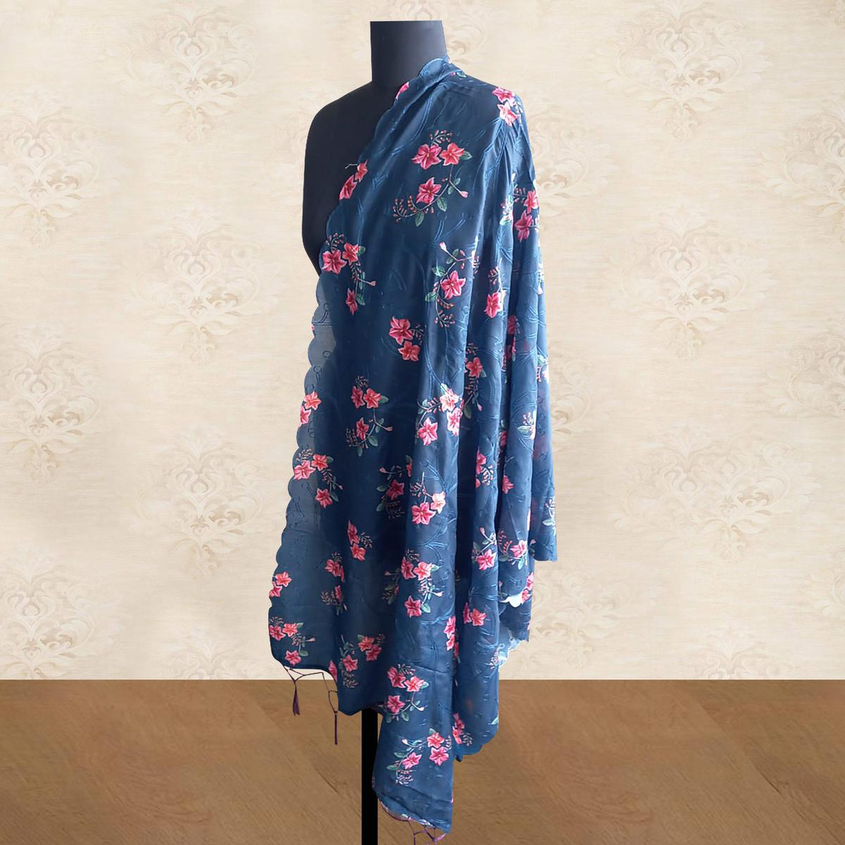 Entrancing Navy Blue Colored Casual Wear Digital Floral Printed Semi Cotton Muslin Dupatta With tassels