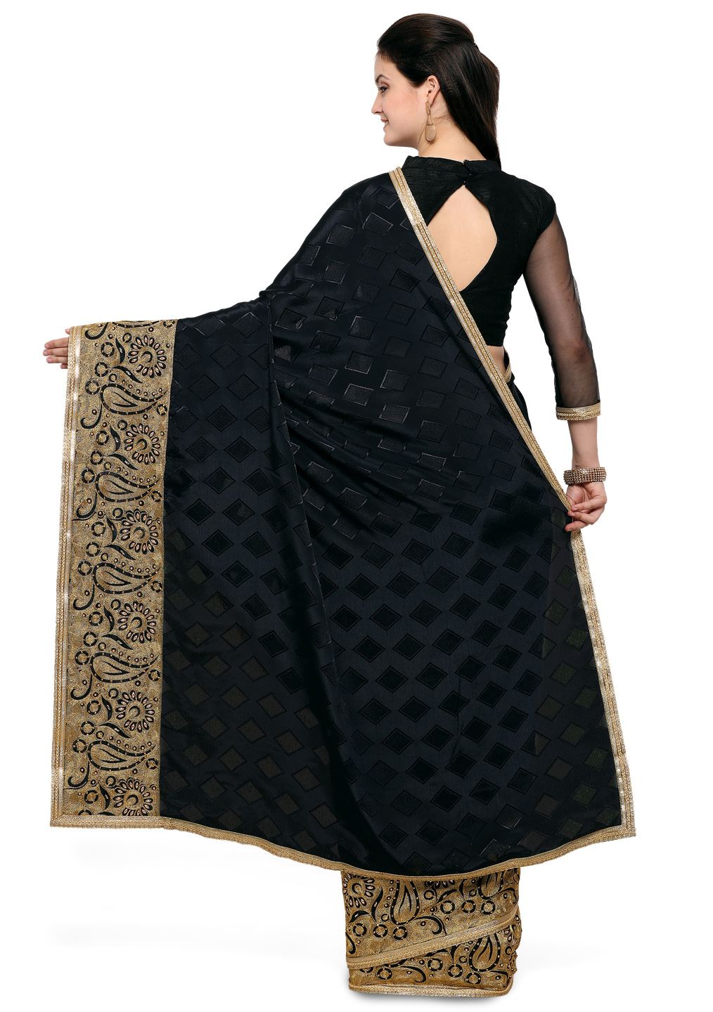 Stunning Black Silk Embroidered Saree