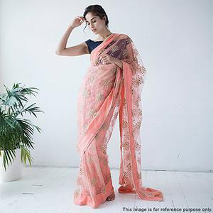 Light Pink Floral Embroidered Net Partywear Saree