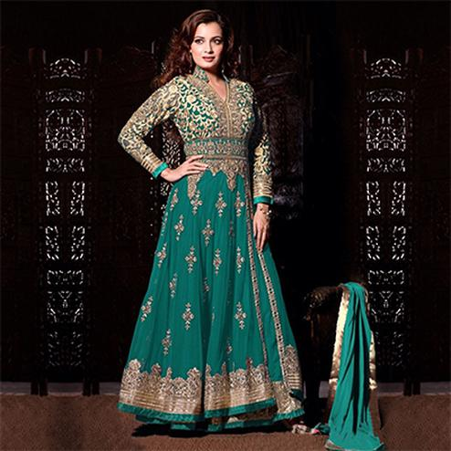 Lovely Sky Blue Soft Net Anarkali Suit