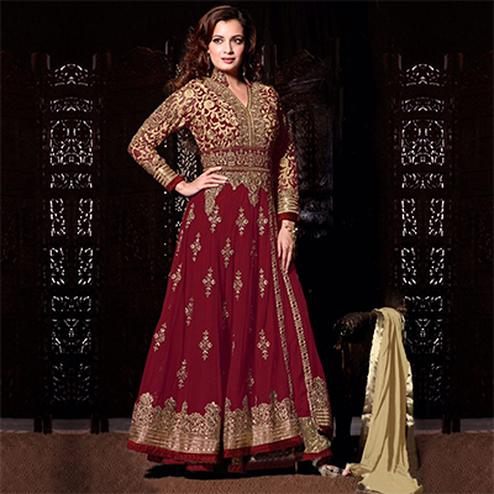 Beautiful Maroon Soft Net Anarkali Suit