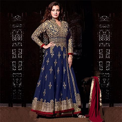 Adorable Blue Soft Net Anarkali Suit