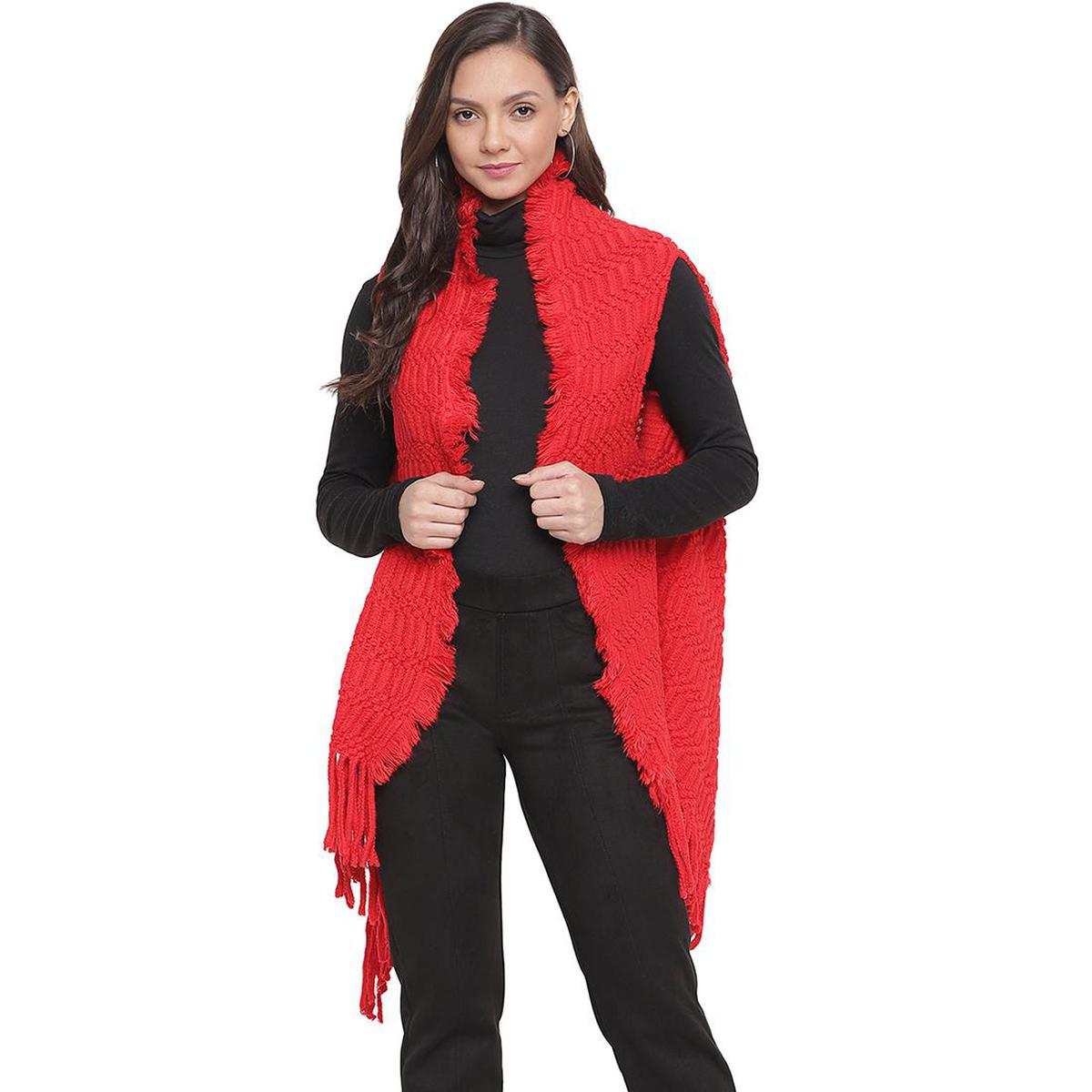 HK Colors Of Fashion - Red Colored Woolen Self Design Poncho