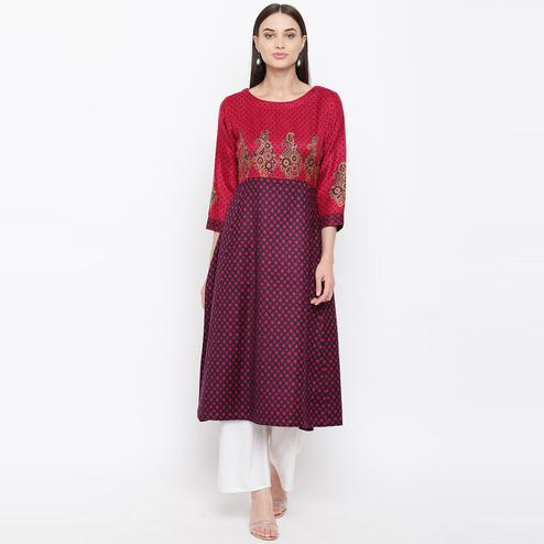 HK Colors Of Fashion - Navy-Magenta Colored Woolen A Line Woolen Woven Viscose Acrylic Kurti