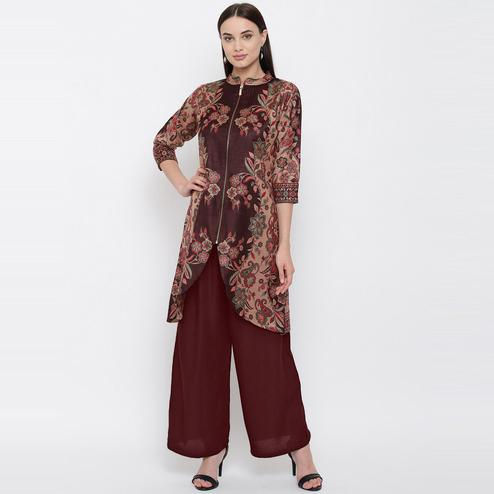 HK Colors Of Fashion - Coffee Colored Floral Woolen Woven Viscose Acrylic Kurti