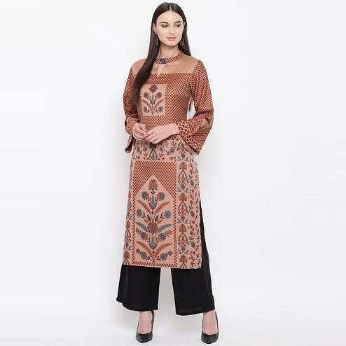 HK Colors Of Fashion - Brown Colored Jacquard Woven Design Woolen Viscose Acrylic Kurti