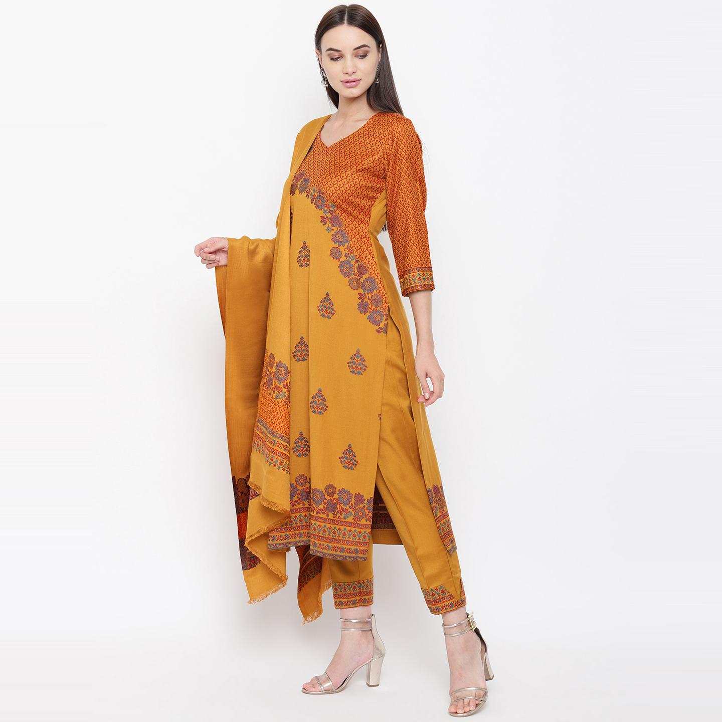 HK Colors Of Fashion - Mustard Yellow Colored Liva Unstitched Viscose Acrylic Dress Material
