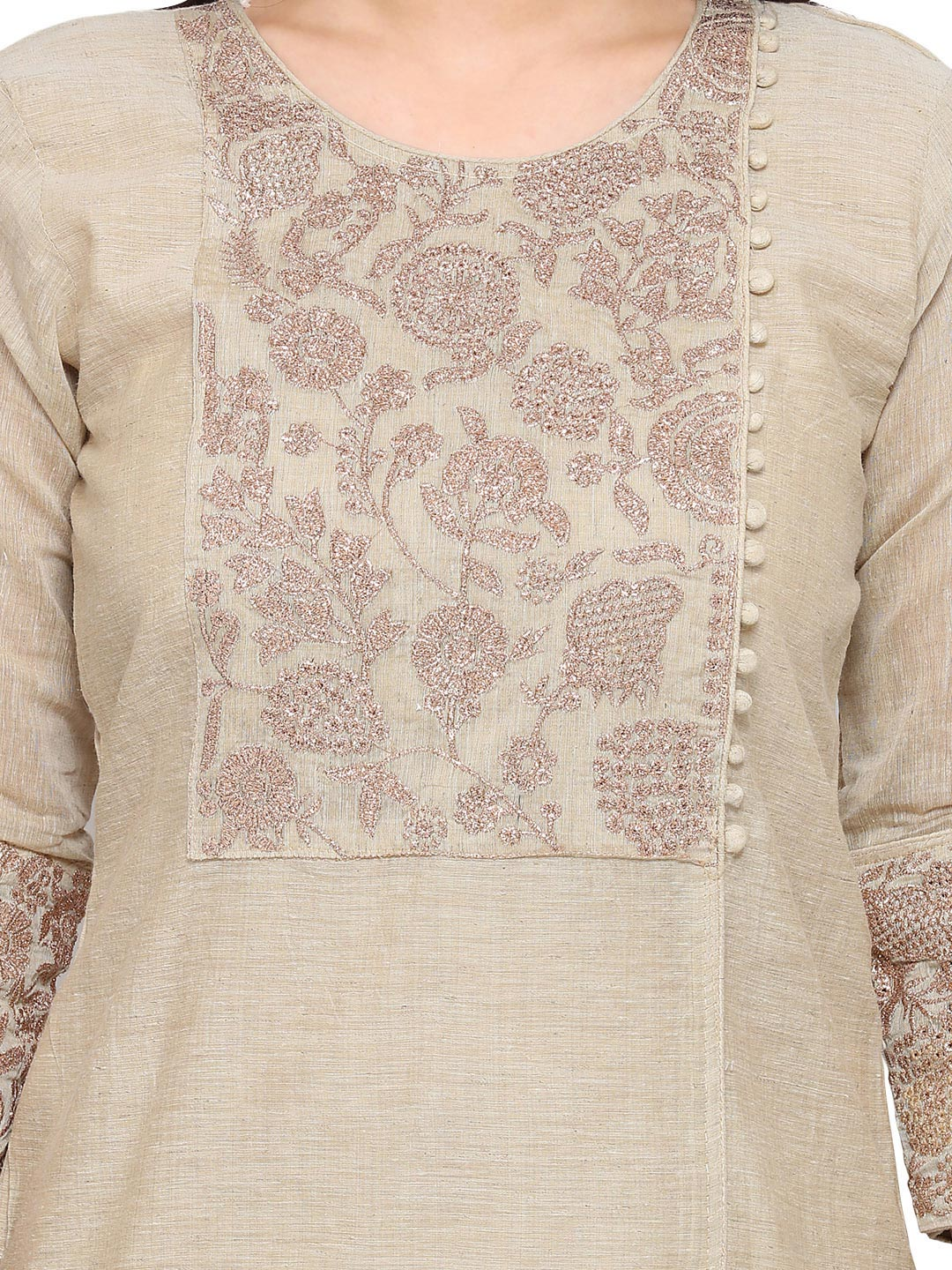 Cream - Blue Floral Embroidered Work Salwar Suit