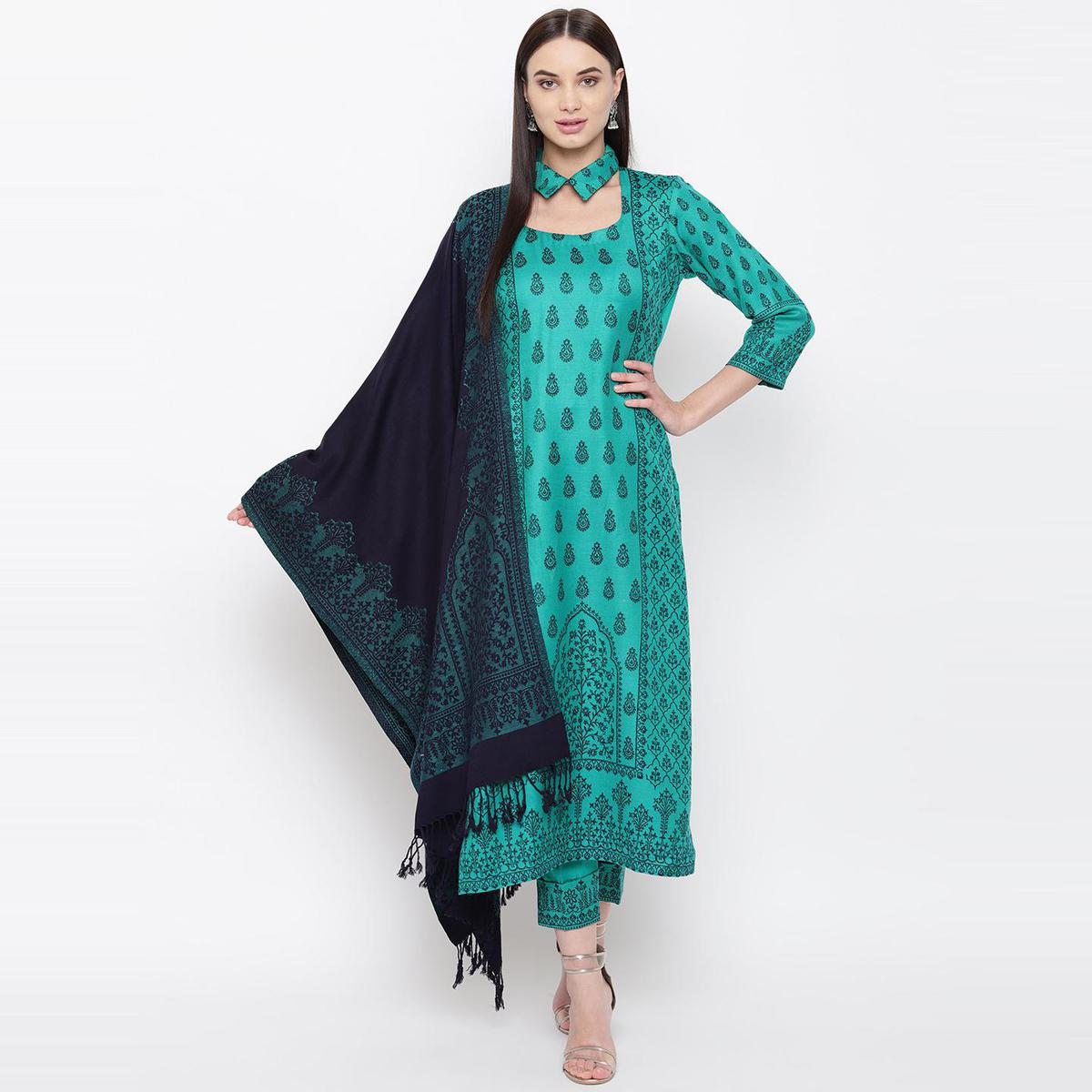 HK Colors Of Fashion - Green Colored Liva Unstitched Viscose Acrylic Dress Material