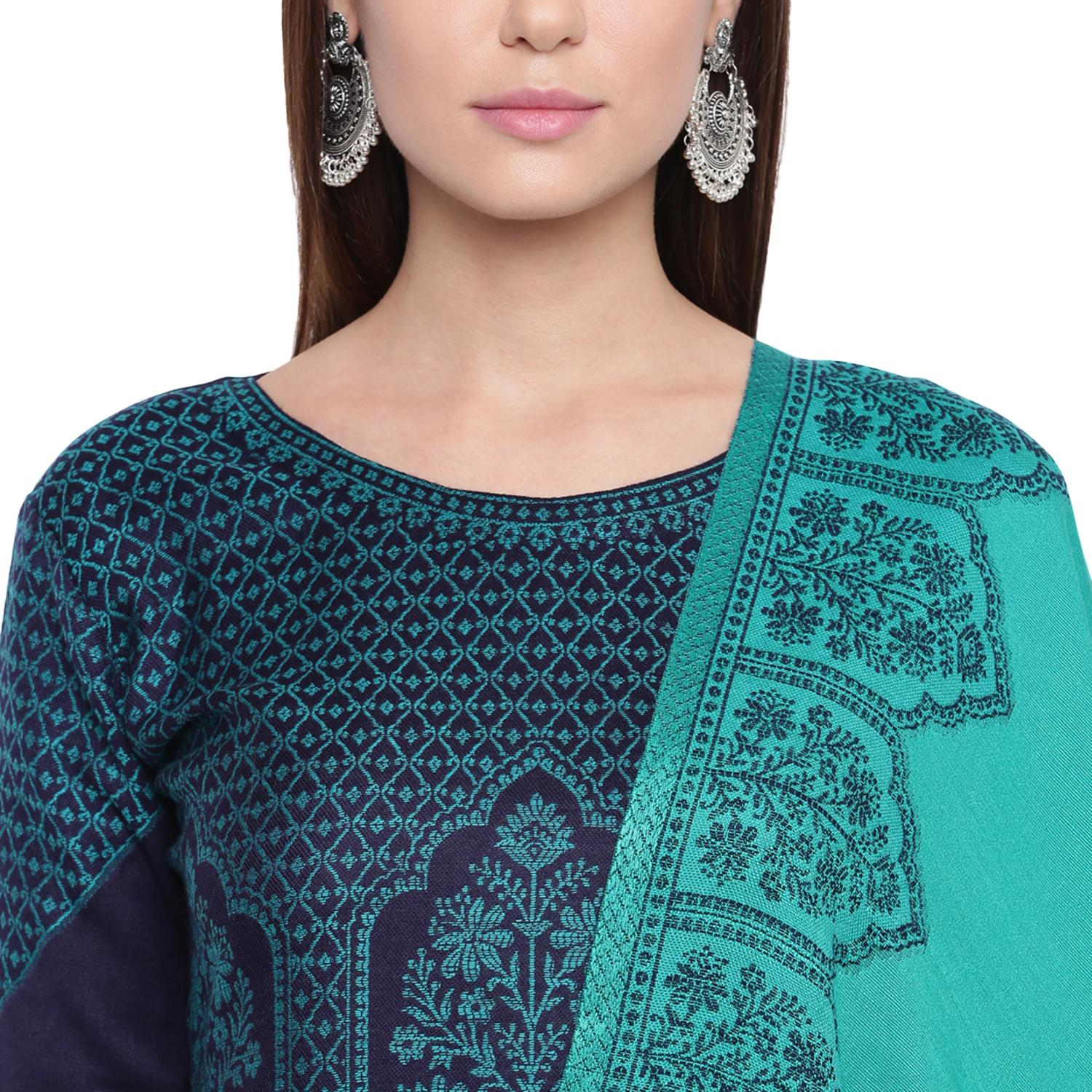 HK Colors Of Fashion - Navy Blue Colored Liva Unstitched Viscose Acrylic Dress Material