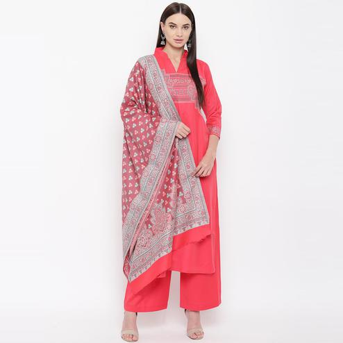 HK Colors Of Fashion - Coral Pink Colored Liva Unstitched Viscose Acrylic Dress Material