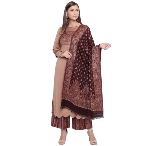 HK Colors Of Fashion - Brown Colored Liva Unstitched Viscose Acrylic Dress Material