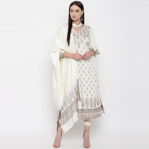 HK Colors Of Fashion - Off White Colored Liva Unstitched Viscose Acrylic Dress Material