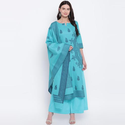 HK Colors Of Fashion - Rama Green Colored Liva Unstitched Pure Cotton Dress Material