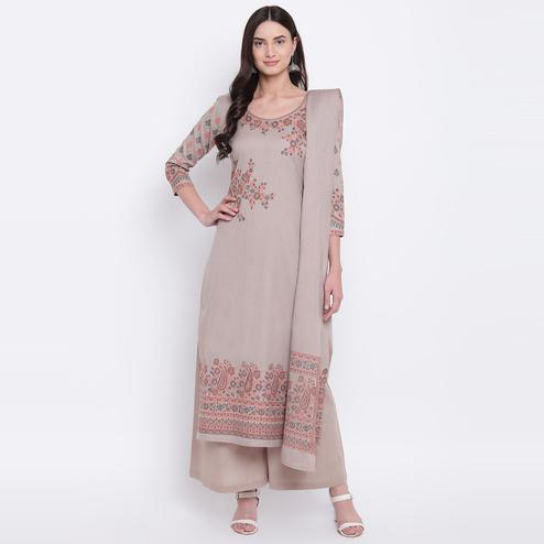 HK Colors Of Fashion - Beige Colored Liva Unstitched Pure Cotton Dress Material