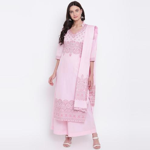 HK Colors Of Fashion - Pink Colored Liva Unstitched Pure Cotton Dress Material