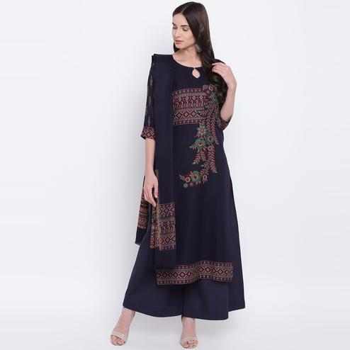 HK Colors Of Fashion - Navy Colored Liva Unstitched Pure Cotton Dress Material
