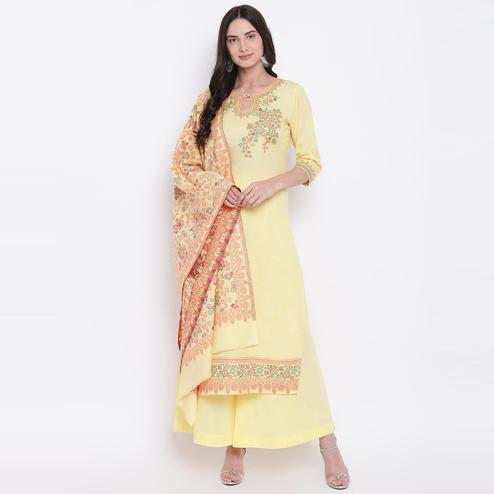 HK Colors Of Fashion - Yellow Colored Liva Unstitched Pure Cotton Dress Material